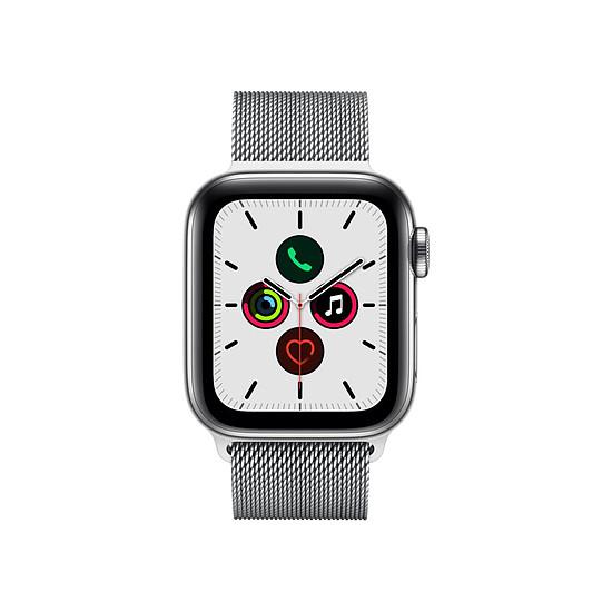 Montre connectée Apple Watch Series 5 Acier (Argent - Bracelet Milanais Argent) - Cellular - 40 mm - Autre vue