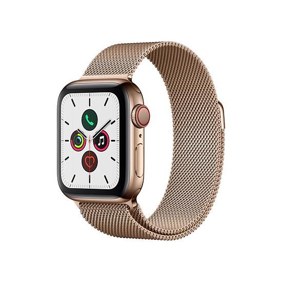 Montre connectée Apple Watch Series 5 Acier (Or- Bracelet Milanais Or) - Cellular - 40 mm