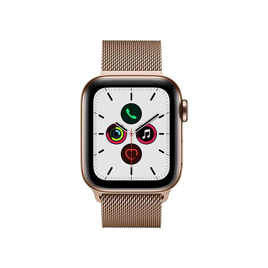 Montre connectée Apple Watch Series 5 Acier (Or- Bracelet Milanais Or) - Cellular - 40 mm - Autre vue