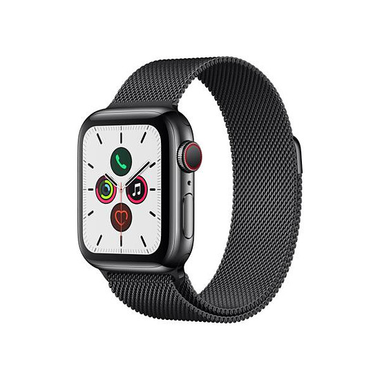 Montre connectée Apple Watch Series 5 Acier (Noir - Bracelet Milanais Noir) - Cellular - 40 mm