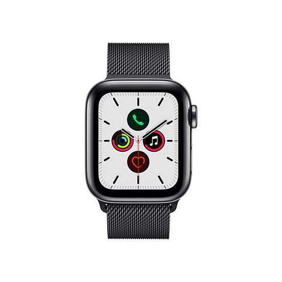 Montre connectée Apple Watch Series 5 Acier (Noir - Bracelet Milanais Noir) - Cellular - 40 mm - Autre vue