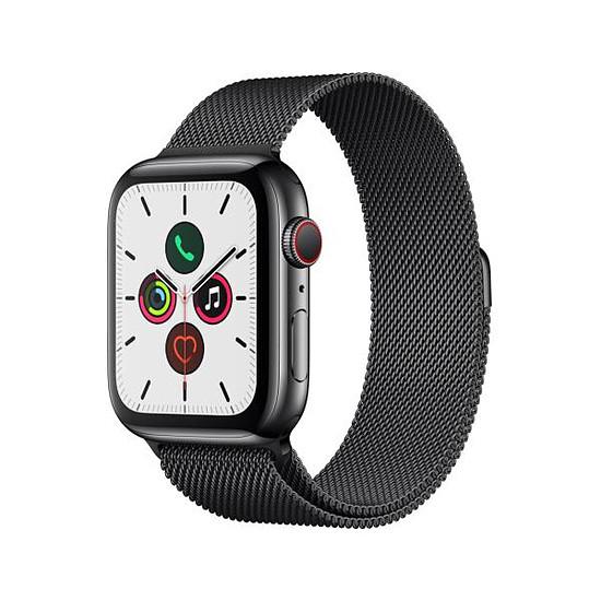 en soldes 961b2 7ce11 Apple Watch Series 5 Acier (Noir - Bracelet Milanais Noir) - Cellular - 44  mm