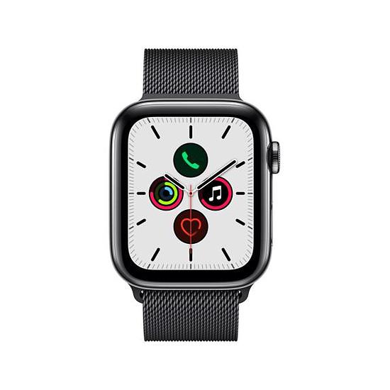 Montre connectée Apple Watch Series 5 Acier (Noir - Bracelet Milanais Noir) - Cellular - 44 mm - Autre vue