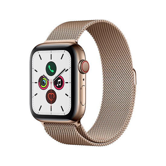 Montre connectée Apple Watch Series 5 Acier (Or- Bracelet Milanais Or) - Cellular - 44 mm