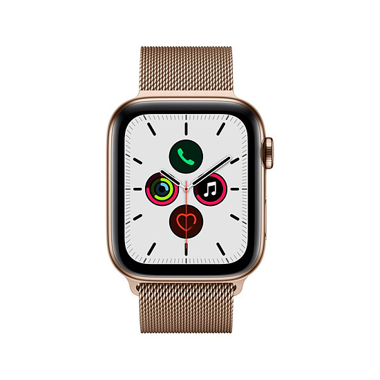 Montre connectée Apple Watch Series 5 Acier (Or- Bracelet Milanais Or) - Cellular - 44 mm - Autre vue