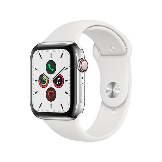 Montre connectée Apple Watch Series 5 Acier (Argent - Bracelet Sport Blanc) - Cellular - 44 mm