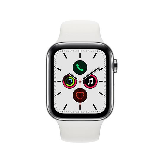 Montre connectée Apple Watch Series 5 Acier (Argent - Bracelet Sport Blanc) - Cellular - 44 mm - Autre vue