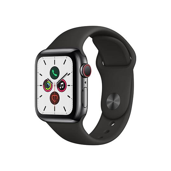 Montre connectée Apple Watch Series 5 Acier (Noir - Bracelet Sport Noir) - Cellular - 40 mm