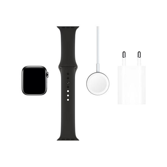 Montre connectée Apple Watch Series 5 Acier (Noir - Bracelet Sport Noir) - Cellular - 40 mm - Autre vue