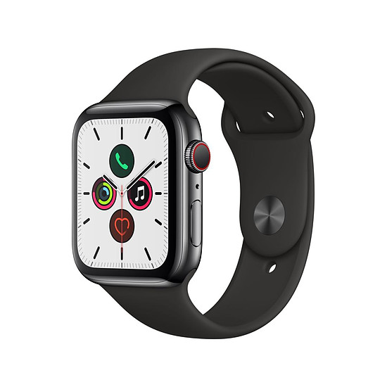Montre connectée Apple Watch Series 5 Acier (Noir - Bracelet Sport Noir) - Cellular - 44 mm