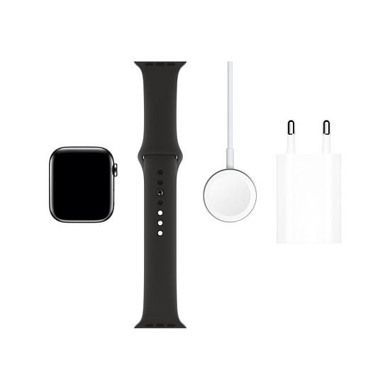 Montre connectée Apple Watch Series 5 Acier (Noir - Bracelet Sport Noir) - Cellular - 44 mm - Autre vue