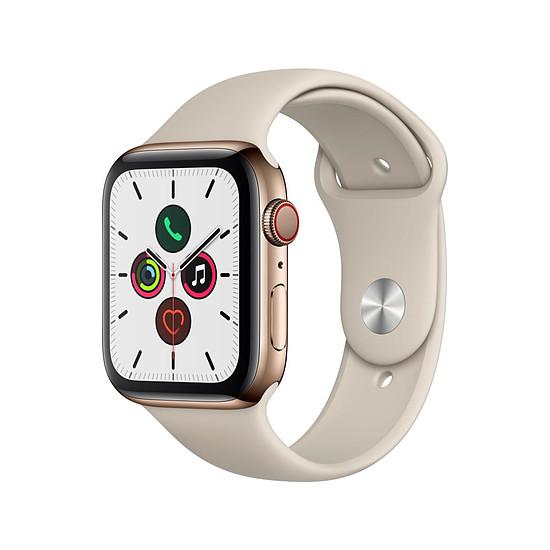 Montre connectée Apple Watch Series 5 Acier (Or - Bracelet Sport Gris Sable) - Cellular - 44 mm