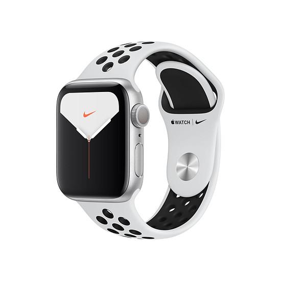 Montre connectée Apple Watch Nike Series 5 Aluminium (Argent- Bracelet Sport Platine Pur/Noir) - GPS - 40 mm
