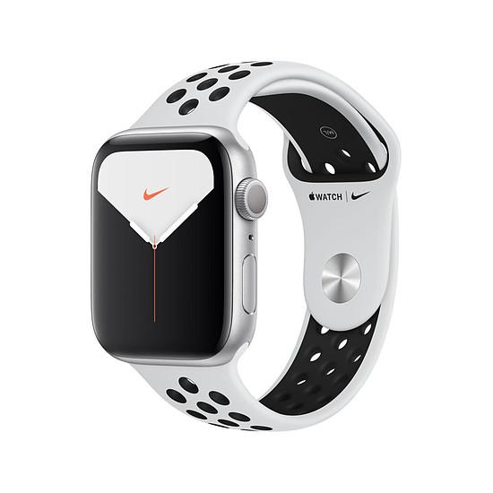 Montre connectée Apple Watch Nike Series 5 Aluminium (Argent- Bracelet Sport Platine Pur/Noir) - GPS - 44 mm