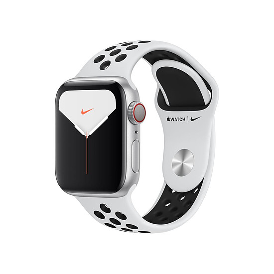Montre connectée Apple Watch Nike Series 5 Aluminium (argent- Bracelet Sport Platine Pur / Noir) - Cellular - 40 mm