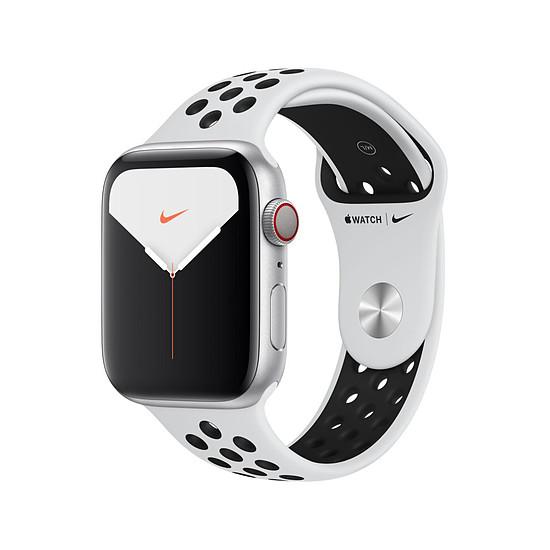 Montre connectée Apple Watch Nike Series 5 Aluminium (argent- Bracelet Sport Platine Pur / Noir) - Cellular - 44 mm