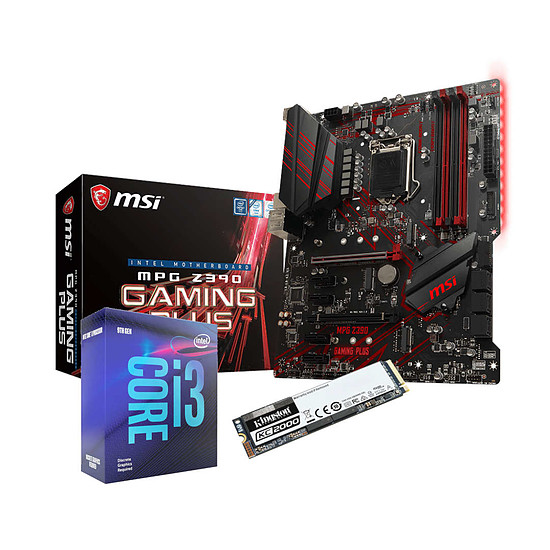 Kit upgrade PC Intel Core i3-9350KF + MSI Z390 GAMING PLUS + SSD Kingston 250 Go