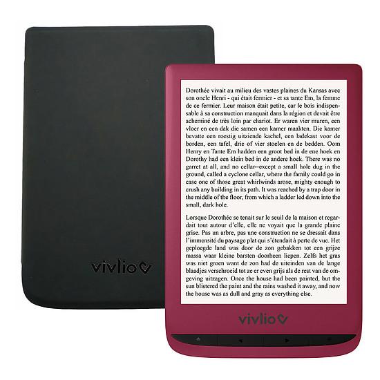 Liseuse numérique Vivlio Touch Lux 4 (rouge) + Vivlio Housse cuir (noir)