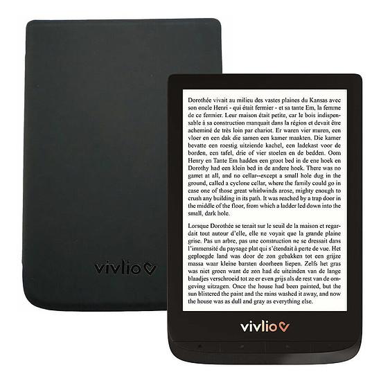Liseuse numérique Vivlio Touch Lux 4 (noir) + Vivlio Housse cuir (noir)