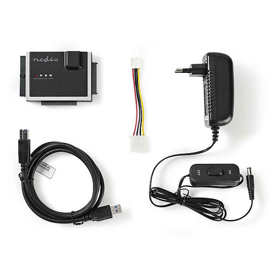"""USB Nedis Adaptateur USB 3.0 vers IDE/SATA pour HDD/SSD 2.5""""/3.5"""" - Autre vue"""