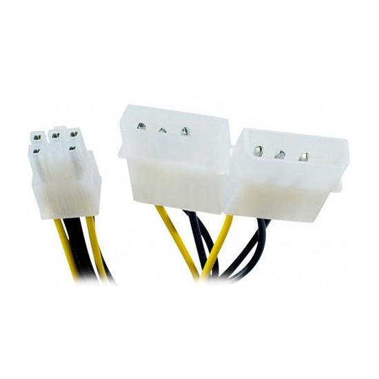 Alimentation Adaptateur PCI-E 6 broches / 2 x Molex - 20 cm