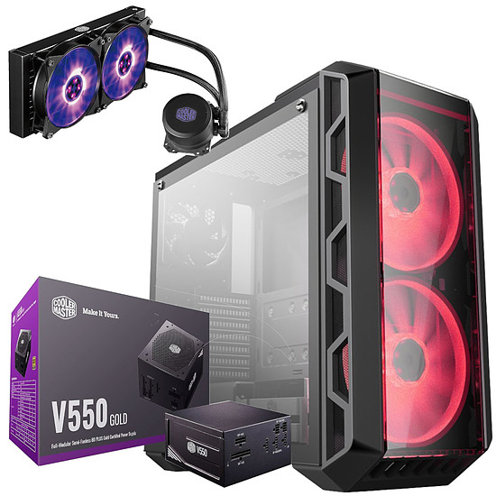 Boîtier PC Cooler Master MasterCase H500 + V550 Gold + MasterLiquid ML240L RGB