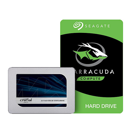 Disque SSD Pack Crucial MX500 - 500 Go + Seagate BarraCuda - 2 To - 256 Mo