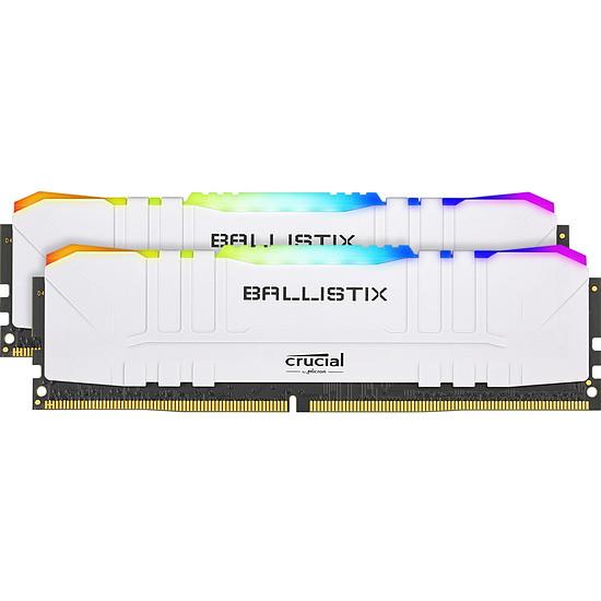 Mémoire Ballistix Blanche RGB - 2 x 8 Go (16 Go) - DDR4 3600 MHz - CL16