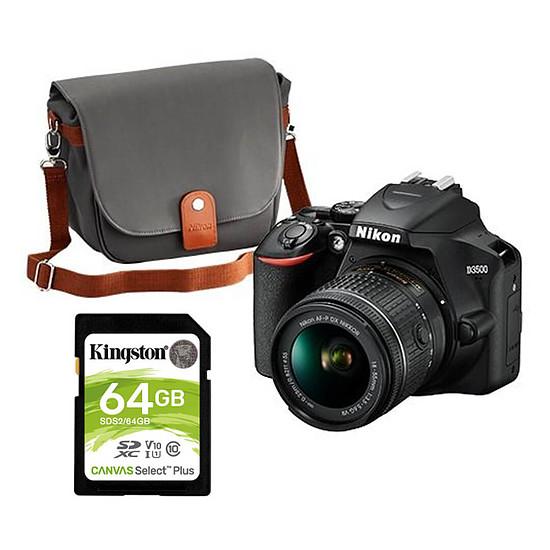 Appareil photo Reflex Nikon D3500 + AF-P DX 18-55 VR + Fourre-tout + Kingston 64Go