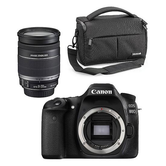 Appareil photo Reflex Canon EOS 80D + EF-S 18-200mm f/3.5-5.6 IS + Cullmann Malaga Maxima 70