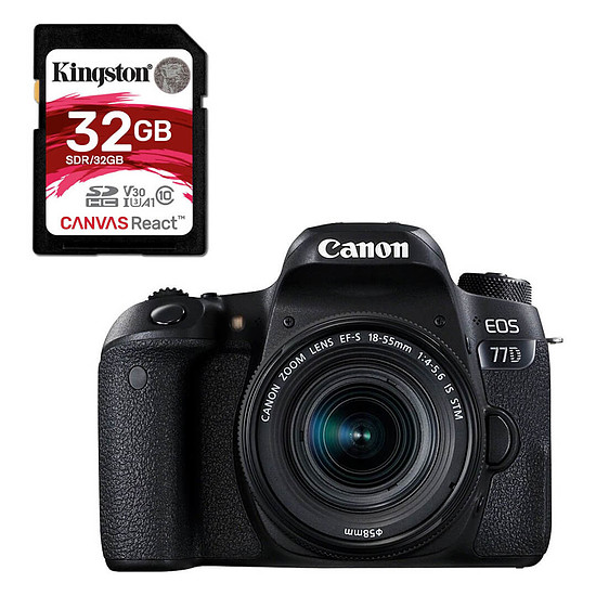 Appareil photo Reflex Canon EOS 77D + 18-55 IS STM + Kingston SDHC 32 Go