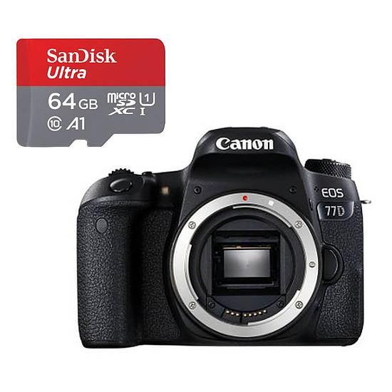 Appareil photo Reflex Canon EOS 77D Boîtier Nu Noir + SanDisk microSDXC 64Go