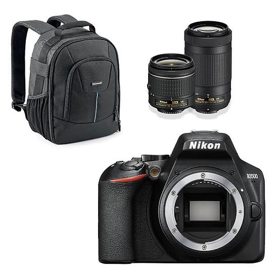 Appareil photo Reflex Nikon D3500 + AF-P DX 18-55 VR + AF-P DX 70-300 VR Noir + Cullmann Panama 200 Noir