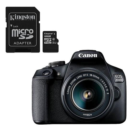 Appareil photo Reflex Canon EOS 2000D + EF-S 18-55 mm + Kingston microSDHC 16 Go