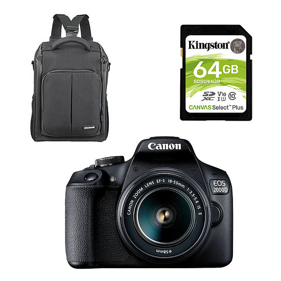 Appareil photo Reflex Canon EOS 2000D + EF-S 18-55 mm + Cullmann Backpack 200 + Kingston SDS2/64Go