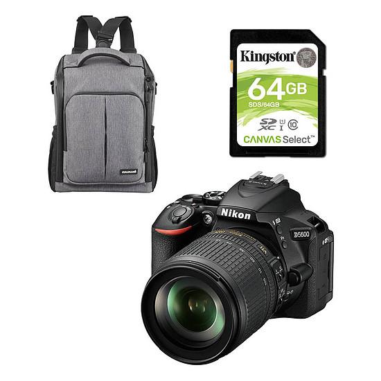 Appareil photo Reflex Nikon D5600 + AF-P 18-55 VR + Cullmann BackPack 200 + Kingston SDXC 64Go