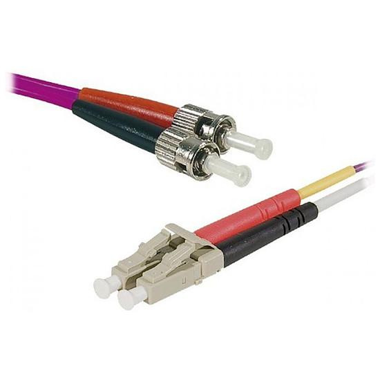Câble fibre Optique Jarretière optique duplex multimode 2mm OM4 LC-UPC/ST-UPC - 1 m