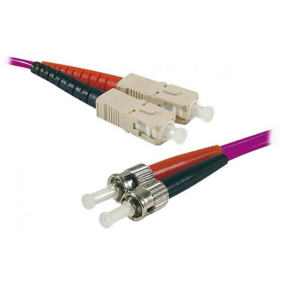 Câble fibre Optique Jarretière optique duplex multimode 2mm OM4 ST-UPC/SC-UPC - 2 m