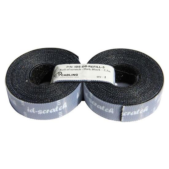 Passe câble et serre câble Bandes auto-agrippantes prédécoupées par 2 (noir) - 2,5 m