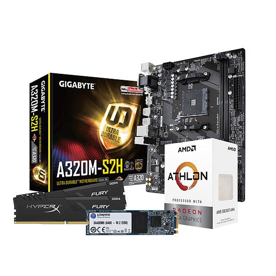 Kit upgrade PC AMD A3000G - Gigabyte A320 - RAM 8Go 3200MHz - SSD 240Go
