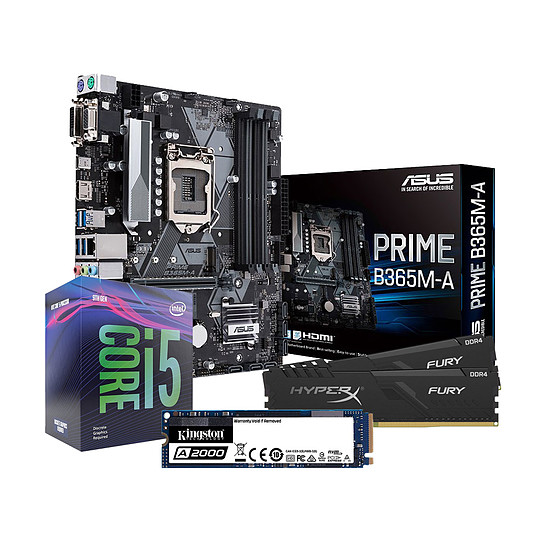 Kit upgrade PC Intel i5 9400F - Asus B365 - RAM 16Go 2666Mhz - SSD 500Go