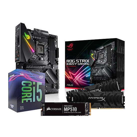 Kit upgrade PC Intel i5 9600KF - Asus B365 - RAM 16Go 2666Mhz - SSD 480Go