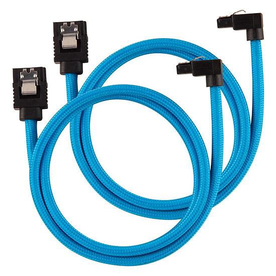 Serial ATA Câbles SATA gainés droits vers coudés (bleu) - 60 cm (lot de 2)