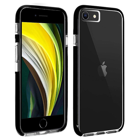 Coque et housse Akashi Coque Ultra Renforcée (transparent) avec bordures noires - Apple iPhone SE / 8 / 7 / 6