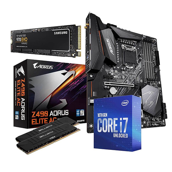 Kit upgrade PC Intel i7 10700K - Aorus Z490 - RAM 32Go 3600Mhz + SSD 1 To