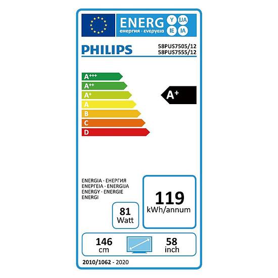 TV Philips 58PUS7505 - TV 4K UHD HDR - 146 cm - Autre vue