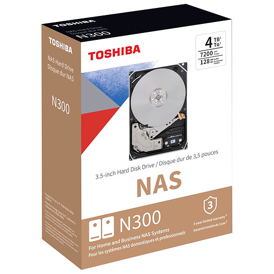 Disque dur interne Toshiba N300 - 2 x 4 To (8 To) - 128 Mo - Autre vue