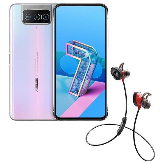Smartphone et téléphone mobile Asus Zenfone 7 Blanc + Bose SoundSport Wireless Pulse Rouge