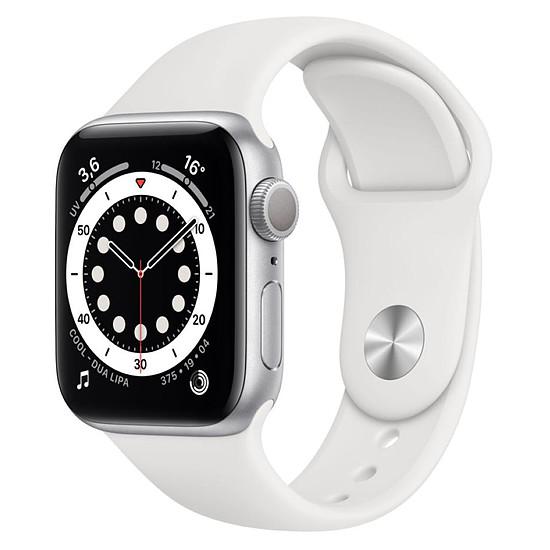 Montre connectée Apple Watch Series 6 Aluminium (Argent - Bracelet Sport Blanc) - GPS - 40 mm