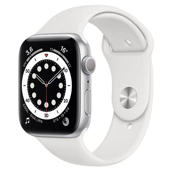 Montre connectée Apple Watch Series 6 Aluminium (Argent- Bracelet Sport Blanc) - GPS - 44 mm